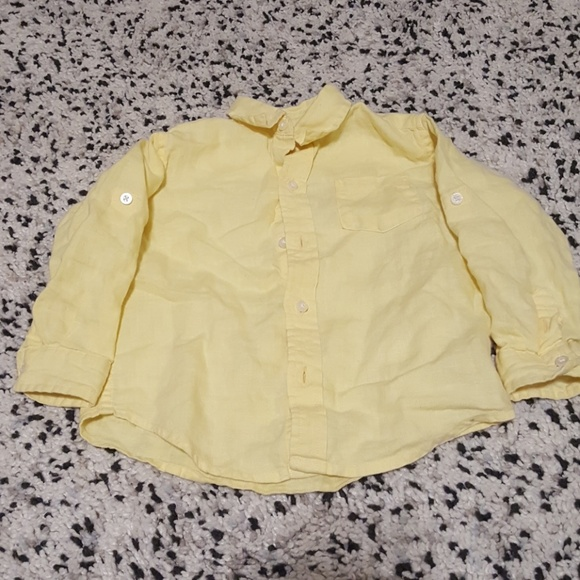 af27c87d Janie and Jack Shirts & Tops | Boys Pale Yellow Linen Button Down ...
